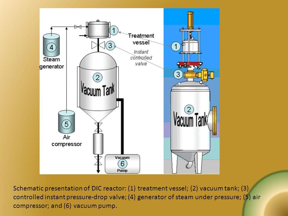 Schematic presentation of DIC reactor: (1) treatment vessel; (2) vacuum tank; (3) controlled instant pressure-drop valve; (4) generator of steam under