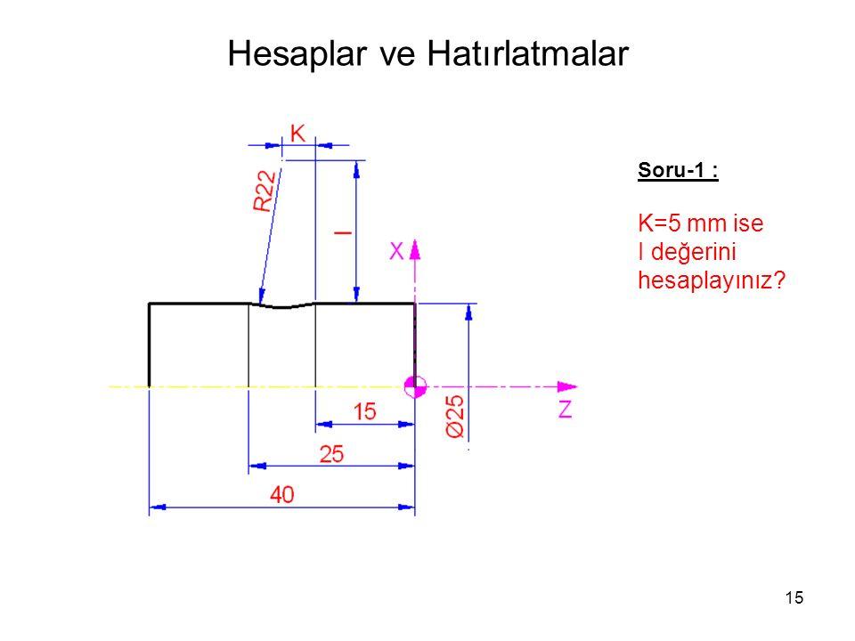 Hesaplar ve Hatırlatmalar Soru-1 : K=5 mm ise I değerini hesaplayınız? 15