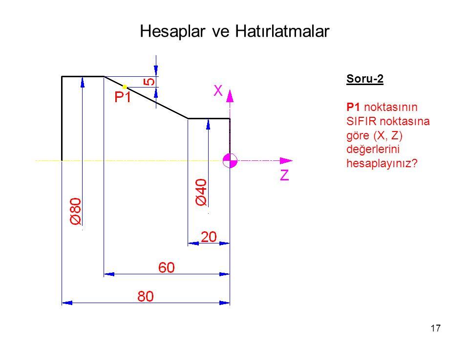 Hesaplar ve Hatırlatmalar Soru-2 P1 noktasının SIFIR noktasına göre (X, Z) değerlerini hesaplayınız.