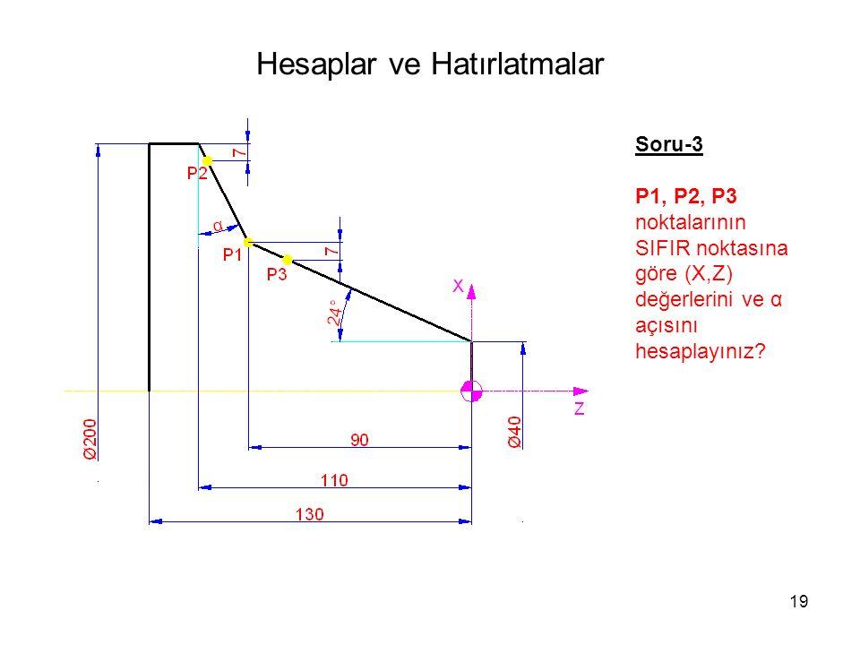 Hesaplar ve Hatırlatmalar Soru-3 P1, P2, P3 noktalarının SIFIR noktasına göre (X,Z) değerlerini ve α açısını hesaplayınız.
