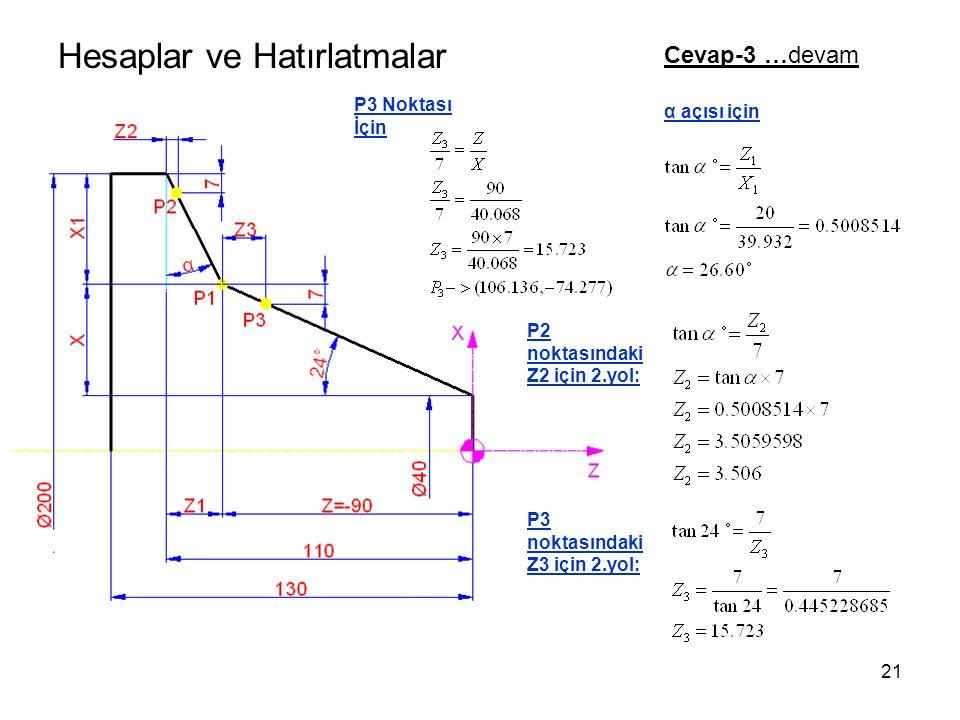 Hesaplar ve Hatırlatmalar Cevap-3 …devam P3 Noktası İçin α açısı için P2 noktasındaki Z2 için 2.yol: P3 noktasındaki Z3 için 2.yol: 21