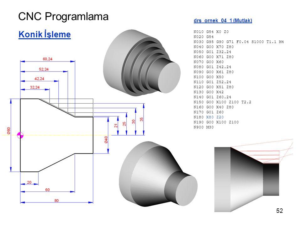 CNC Programlama Konik İşleme drs_ornek_04_1 (Mutlak) N010 G54 X0 Z0 N020 G54 N030 G95 G90 G71 F0.04 S1000 T1.1 M4 N040 G00 X70 Z80 N050 G01 Z32.24 N060 G00 X71 Z80 N070 G00 X60 N080 G01 Z42.24 N090 G00 X61 Z80 N100 G00 X50 N110 G01 Z52.24 N120 G00 X51 Z80 N130 G00 X42 N140 G01 Z60.24 N150 G00 X100 Z100 T2.2 N160 G00 X40 Z80 N170 G01 Z60 N180 X80 Z20 N190 G00 X100 Z100 N900 M30 52