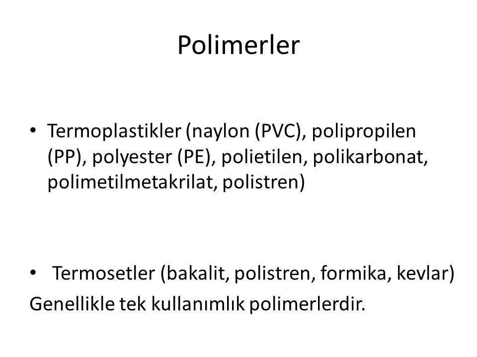 Polimerler Termoplastikler (naylon (PVC), polipropilen (PP), polyester (PE), polietilen, polikarbonat, polimetilmetakrilat, polistren) Termosetler (ba