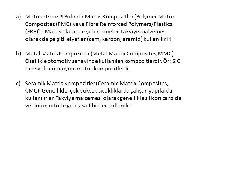 "a)Matrise Göre "" Polimer Matris Kompozitler [Polymer Matrix Composites (PMC) veya Fibre Reinforced Polymers/Plastics (FRP)] : Matris olarak çe şitli r"