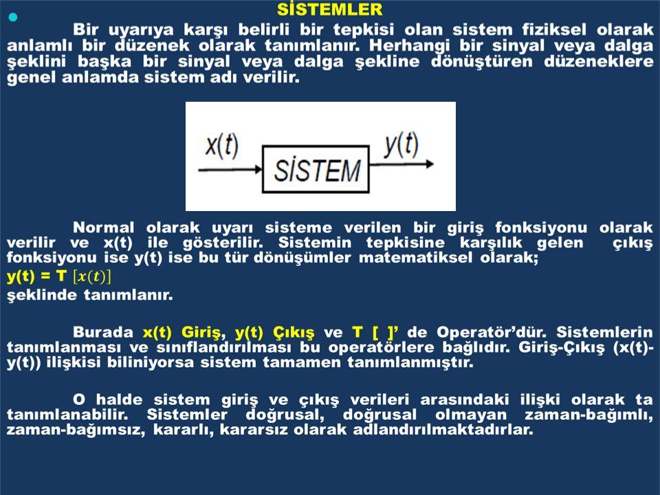 DOĞRUSAL SİSTEMLER Herhangi bir sistem aşağıdaki koşulları sağlıyorsa bu sisteme doğrusal sistem denir.
