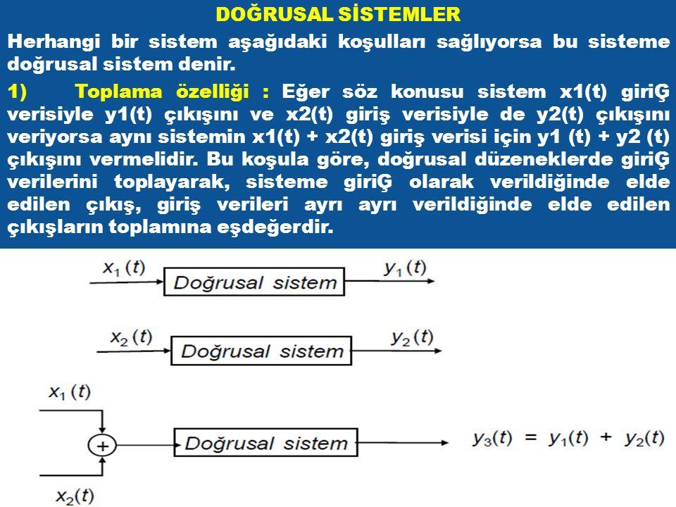 DOĞRUSAL SİSTEMLER Herhangi bir sistem aşağıdaki koşulları sağlıyorsa bu sisteme doğrusal sistem denir. 1)Toplama özelliği : Eğer söz konusu sistem x1