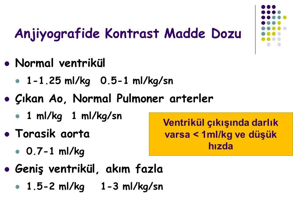 Trunkus Arteriozus Kateter- Anjiyografi endikasyonları Koroner anatomi Ek VSD şüphesi Distal pulmoner arterlerin değerlendirilmesi Arkus aortanın değerlendirilmesi özellikle kesintili aorta Büyük bebek ve çocuklarda PVR hesabı Ventrikülografi: 2 ml/kg kontrast Trunkusa antegrad girilebilir