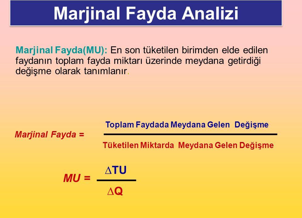 Marjinal Fayda(MU): En son tüketilen birimden elde edilen faydanın toplam fayda miktarı üzerinde meydana getirdiği değişme olarak tanımlanır. Marjinal
