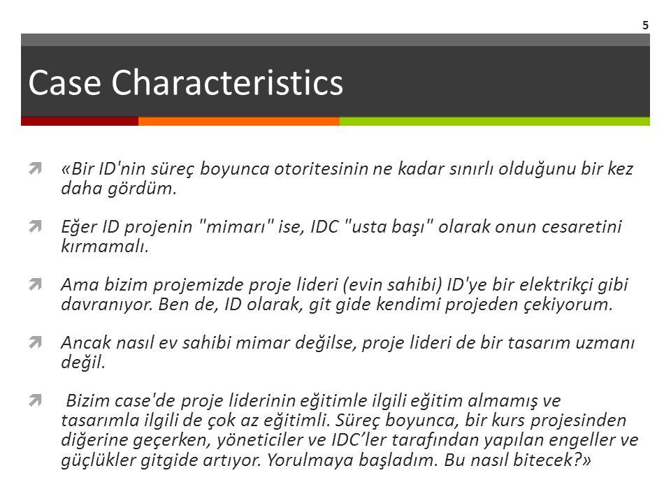 Case Characteristics  «Bir ID'nin süreç boyunca otoritesinin ne kadar sınırlı olduğunu bir kez daha gördüm.  Eğer ID projenin