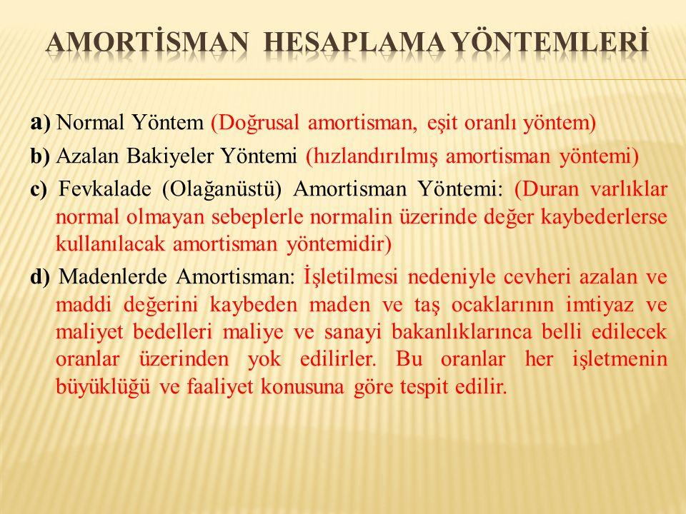 a ) Normal Yöntem (Doğrusal amortisman, eşit oranlı yöntem) b) Azalan Bakiyeler Yöntemi (hızlandırılmış amortisman yöntemi) c) Fevkalade (Olağanüstü) Amortisman Yöntemi: (Duran varlıklar normal olmayan sebeplerle normalin üzerinde değer kaybederlerse kullanılacak amortisman yöntemidir) d) Madenlerde Amortisman: İşletilmesi nedeniyle cevheri azalan ve maddi değerini kaybeden maden ve taş ocaklarının imtiyaz ve maliyet bedelleri maliye ve sanayi bakanlıklarınca belli edilecek oranlar üzerinden yok edilirler.