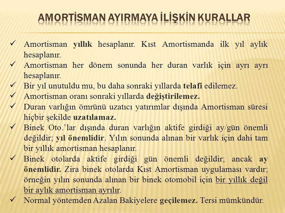 Amortisman yıllık hesaplanır. Kıst Amortismanda ilk yıl aylık hesaplanır. Amortisman her dönem sonunda her duran varlık için ayrı ayrı hesaplanır. Bir
