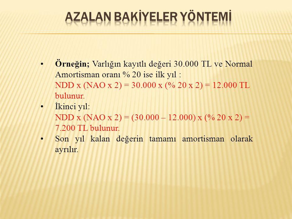 Örneğin; Varlığın kayıtlı değeri 30.000 TL ve Normal Amortisman oranı % 20 ise ilk yıl : NDD x (NAO x 2) = 30.000 x (% 20 x 2) = 12.000 TL bulunur.