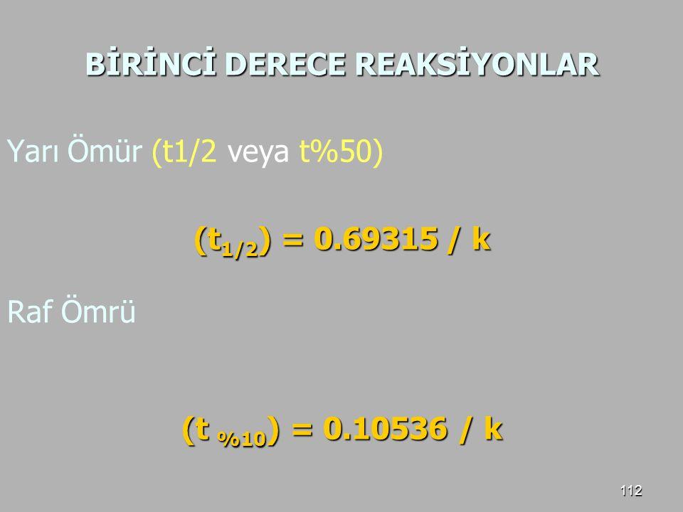 112 BİRİNCİ DERECE REAKSİYONLAR Yarı Ömür (t1/2 veya t%50) (t 1/2 ) = 0.69315 / k Raf Ömrü (t %10 ) = 0.10536 / k