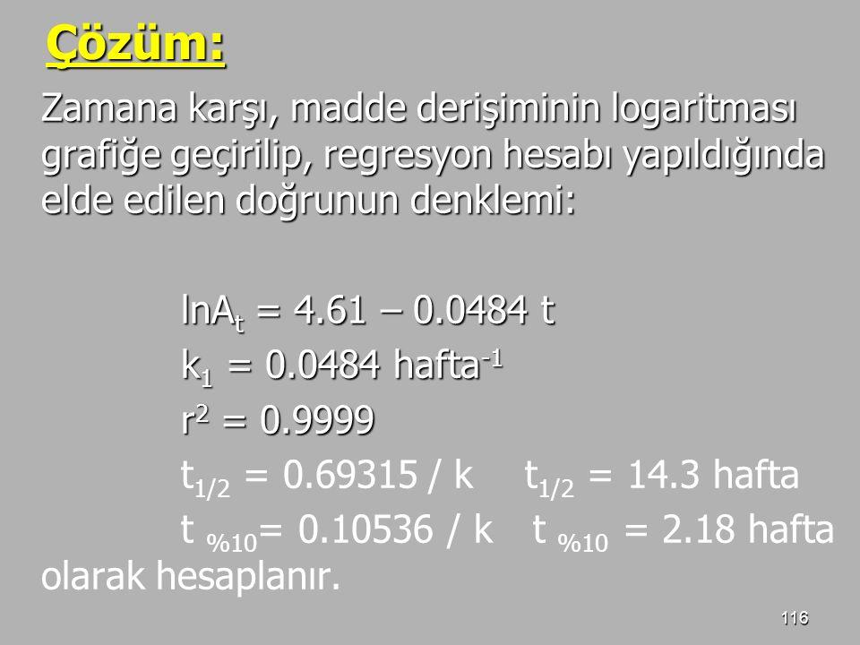 116 Çözüm: Zamana karşı, madde derişiminin logaritması grafiğe geçirilip, regresyon hesabı yapıldığında elde edilen doğrunun denklemi: lnA t = 4.61 –