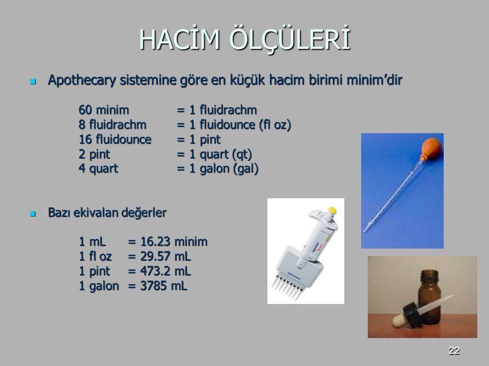 22 HACİM ÖLÇÜLERİ Apothecary sistemine göre en küçük hacim birimi minim'dir Apothecary sistemine göre en küçük hacim birimi minim'dir 60 minim= 1 flui