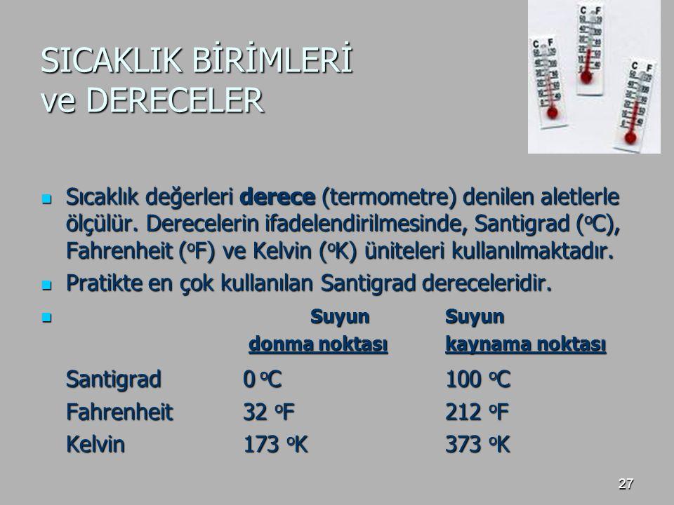 27 SICAKLIK BİRİMLERİ ve DERECELER Sıcaklık değerleri derece (termometre) denilen aletlerle ölçülür. Derecelerin ifadelendirilmesinde, Santigrad ( o C