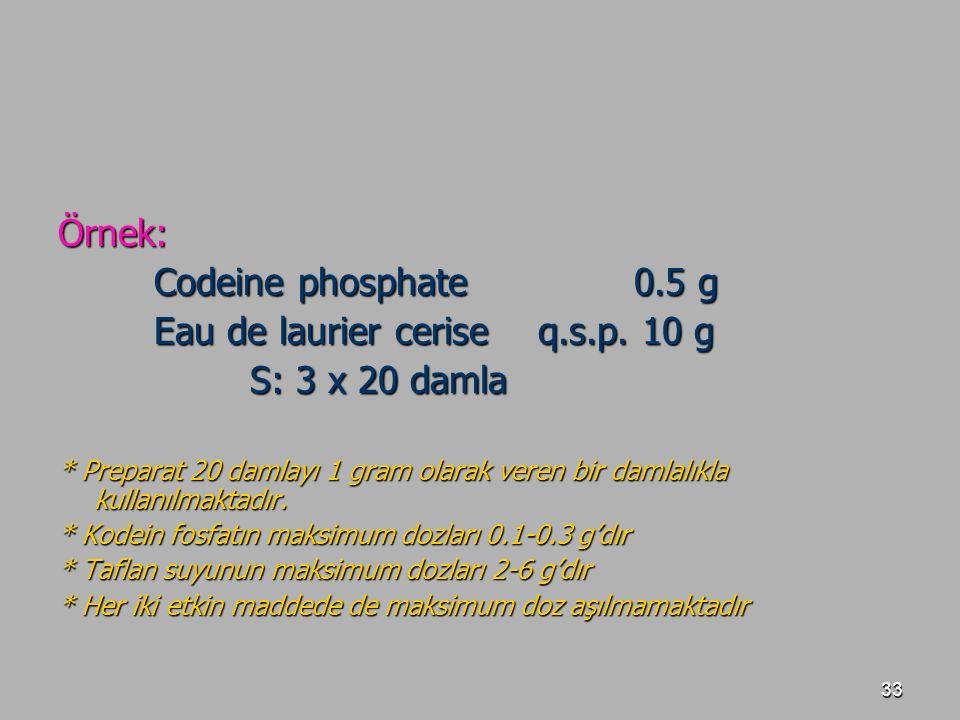 33 Örnek: Codeine phosphate0.5 g Eau de laurier ceriseq.s.p. 10 g S: 3 x 20 damla * Preparat 20 damlayı 1 gram olarak veren bir damlalıkla kullanılmak