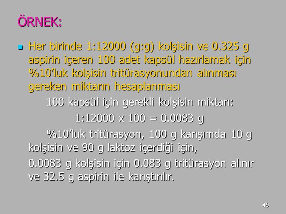 49 ÖRNEK: Her birinde 1:12000 (g:g) kolşisin ve 0.325 g aspirin içeren 100 adet kapsül hazırlamak için %10'luk kolşisin tritürasyonundan alınması gere