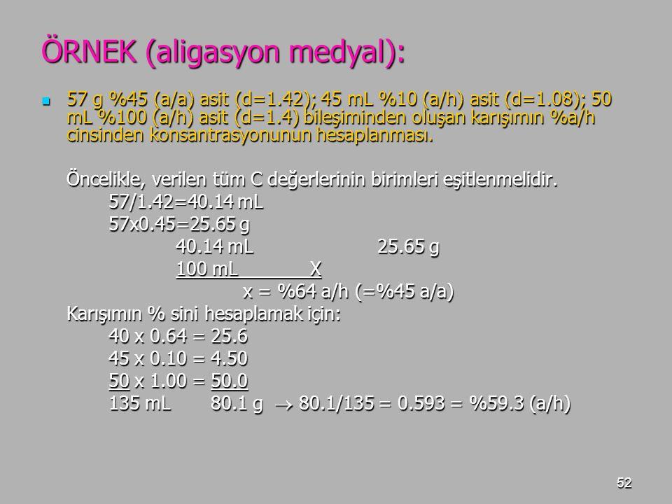 52 ÖRNEK (aligasyon medyal): 57 g %45 (a/a) asit (d=1.42); 45 mL %10 (a/h) asit (d=1.08); 50 mL %100 (a/h) asit (d=1.4) bileşiminden oluşan karışımın