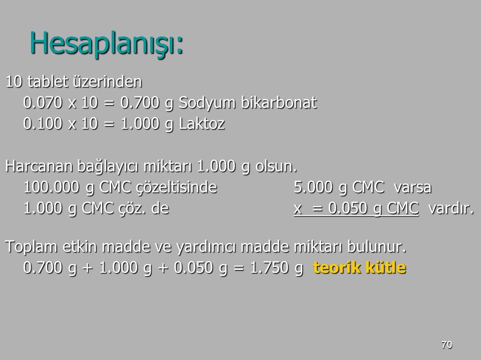 70 Hesaplanışı: 10 tablet üzerinden 0.070 x 10 = 0.700 g Sodyum bikarbonat 0.100 x 10 = 1.000 g Laktoz Harcanan bağlayıcı miktarı 1.000 g olsun. 100.0