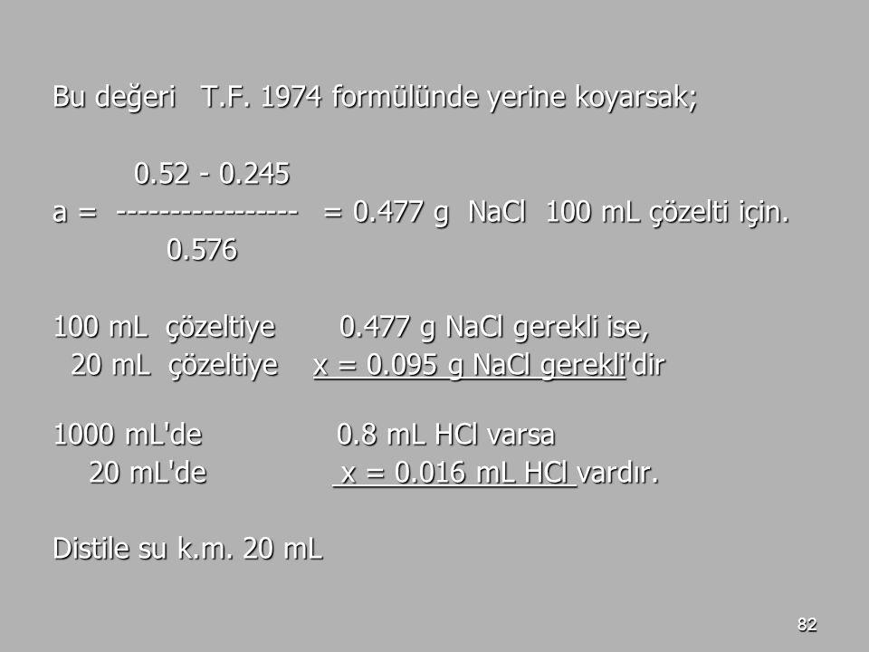82 Bu değeri T.F. 1974 formülünde yerine koyarsak; 0.52 - 0.245 0.52 - 0.245 a = ----------------- = 0.477 g NaCl 100 mL çözelti için. 0.576 0.576 100