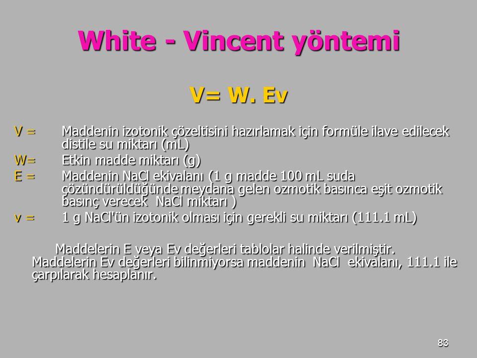 83 White - Vincent yöntemi V= W. Ev V = Maddenin izotonik çözeltisini hazırlamak için formüle ilave edilecek distile su miktarı (mL) W=Etkin madde mik