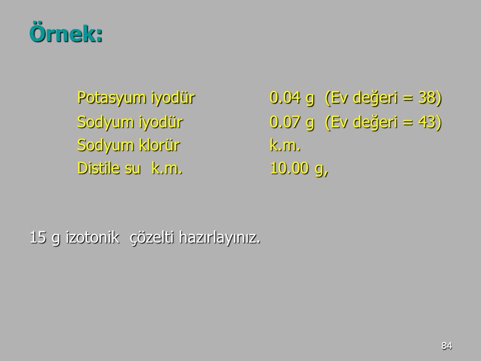 84 Örnek: Potasyum iyodür 0.04 g (Ev değeri = 38) Sodyum iyodür 0.07 g (Ev değeri = 43) Sodyum klorürk.m. Distile su k.m. 10.00 g, 15 g izotonik çözel