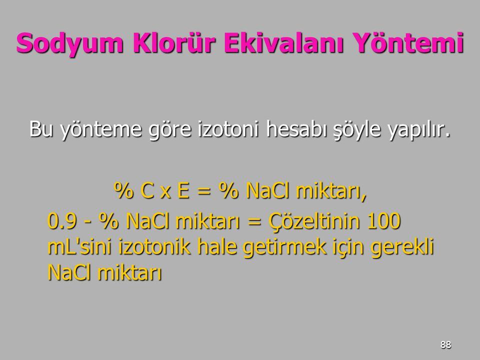 88 Sodyum Klorür Ekivalanı Yöntemi Bu yönteme göre izotoni hesabı şöyle yapılır. % C x E = % NaCl miktarı, 0.9 - % NaCl miktarı = Çözeltinin 100 mL'si