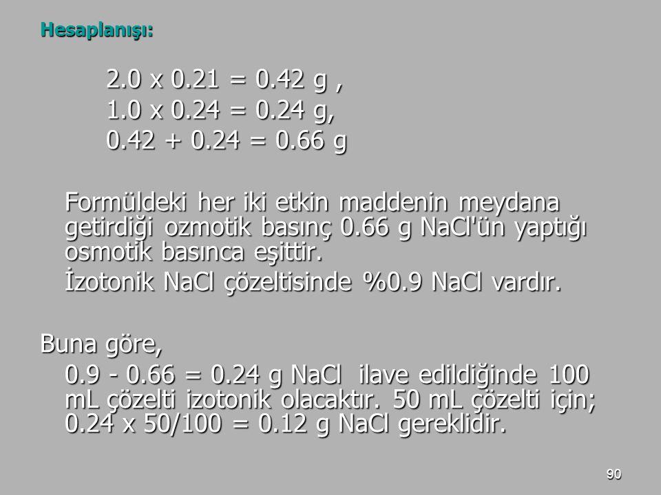 90 Hesaplanışı: 2.0 x 0.21 = 0.42 g, 1.0 x 0.24 = 0.24 g, 0.42 + 0.24 = 0.66 g Formüldeki her iki etkin maddenin meydana getirdiği ozmotik basınç 0.66