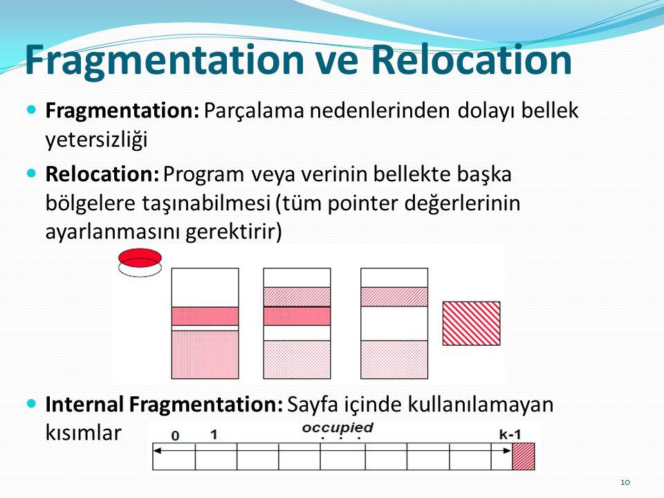 Fragmentation ve Relocation 10 Fragmentation: Parçalama nedenlerinden dolayı bellek yetersizliği Relocation: Program veya verinin bellekte başka bölge