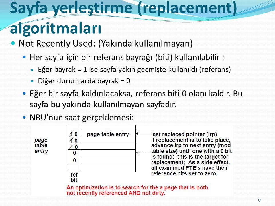Sayfa yerleştirme (replacement) algoritmaları 13 Not Recently Used: (Yakında kullanılmayan) Her sayfa için bir referans bayrağı (biti) kullanılabilir