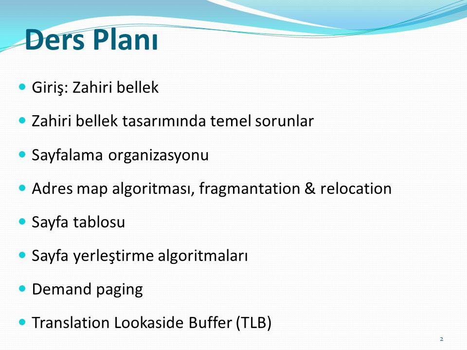 Ders Planı Giriş: Zahiri bellek Zahiri bellek tasarımında temel sorunlar Sayfalama organizasyonu Adres map algoritması, fragmantation & relocation Say