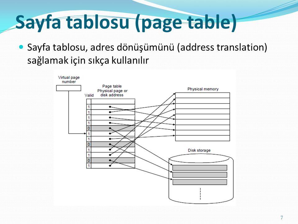 Sayfa tablosu (page table) 7 Sayfa tablosu, adres dönüşümünü (address translation) sağlamak için sıkça kullanılır