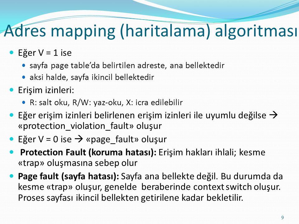 Adres mapping (haritalama) algoritması 9 Eğer V = 1 ise sayfa page table'da belirtilen adreste, ana bellektedir aksi halde, sayfa ikincil bellektedir