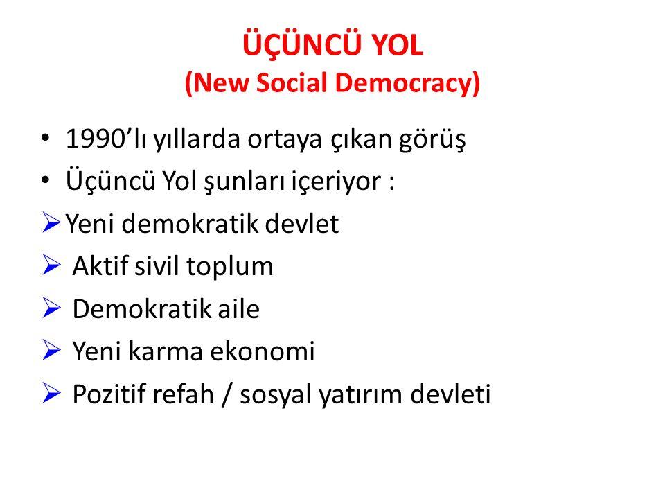 ÜÇÜNCÜ YOL (New Social Democracy) 1990'lı yıllarda ortaya çıkan görüş Üçüncü Yol şunları içeriyor :  Yeni demokratik devlet  Aktif sivil toplum  De