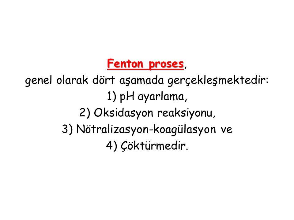 Fenton proses Fenton proses, genel olarak dört aşamada gerçekleşmektedir: 1) pH ayarlama, 2) Oksidasyon reaksiyonu, 3) Nötralizasyon-koagülasyon ve 4)