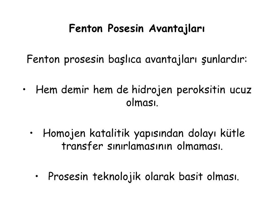 Fenton Posesin Avantajları Fenton prosesin başlıca avantajları şunlardır: Hem demir hem de hidrojen peroksitin ucuz olması. Homojen katalitik yapısınd