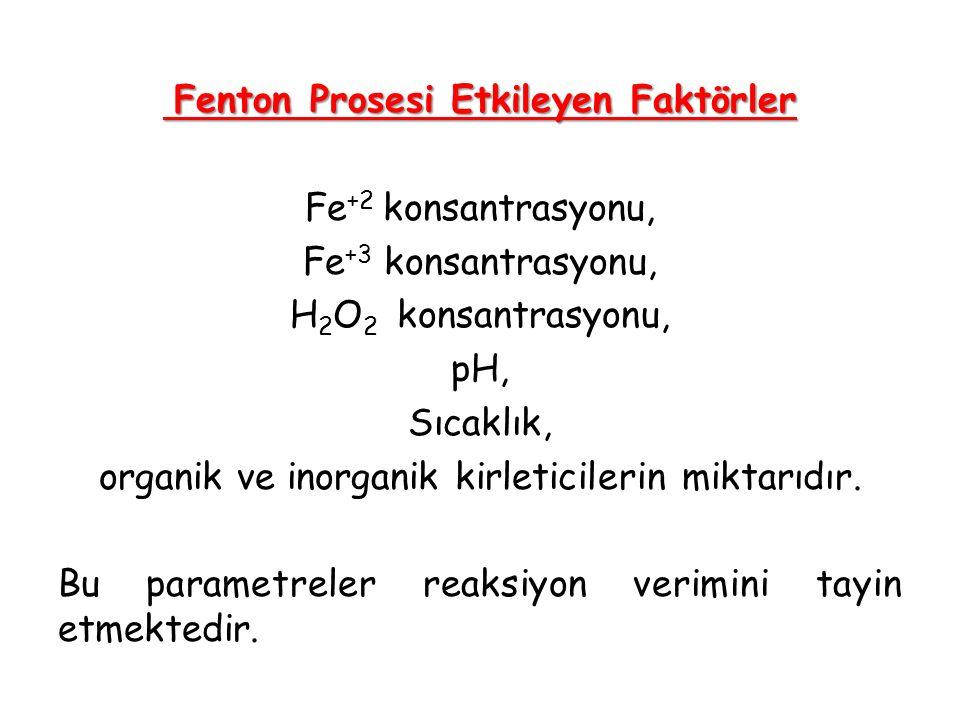 Fenton Prosesi Etkileyen Faktörler Fenton Prosesi Etkileyen Faktörler Fe +2 konsantrasyonu, Fe +3 konsantrasyonu, H 2 O 2 konsantrasyonu, pH, Sıcaklık