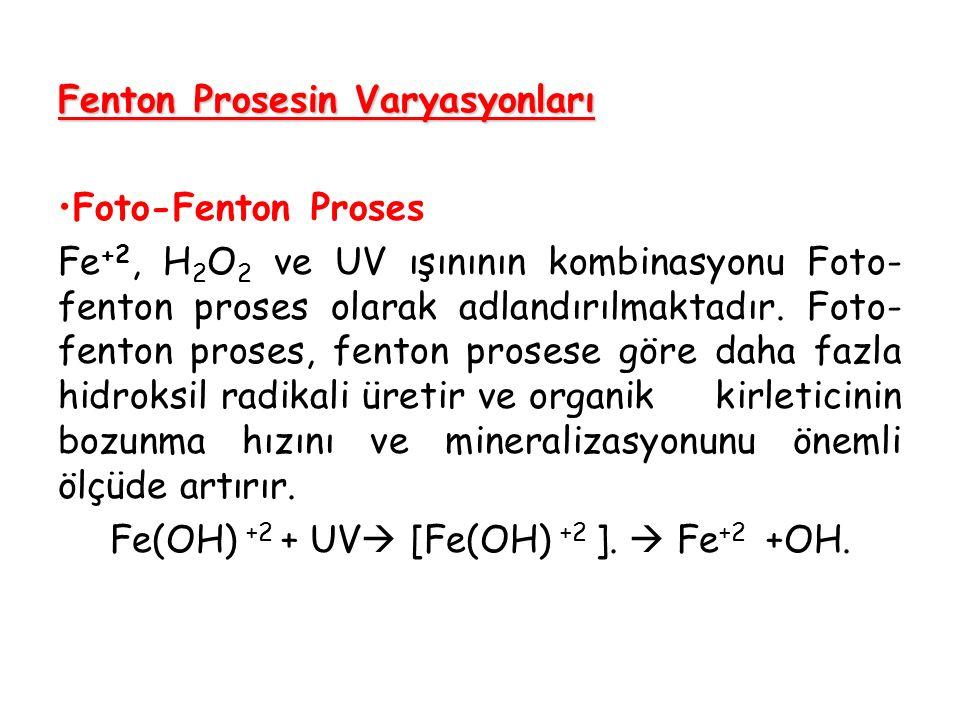 Fenton Prosesin Varyasyonları Foto-Fenton Proses Fe +2, H 2 O 2 ve UV ışınının kombinasyonu Foto- fenton proses olarak adlandırılmaktadır. Foto- fento