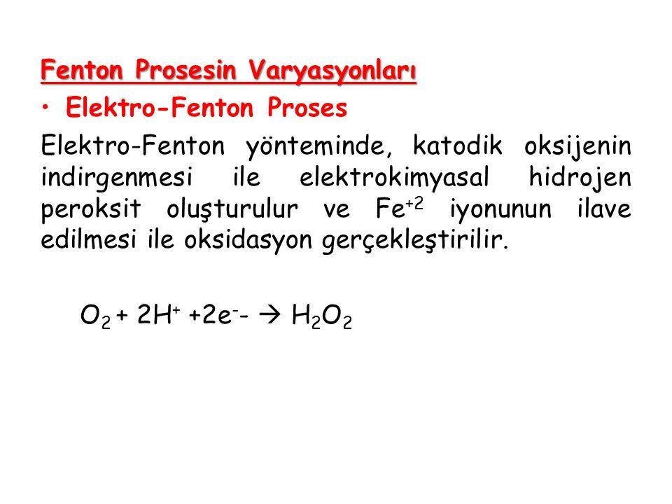 Fenton Prosesin Varyasyonları Elektro-Fenton Proses Elektro-Fenton yönteminde, katodik oksijenin indirgenmesi ile elektrokimyasal hidrojen peroksit ol