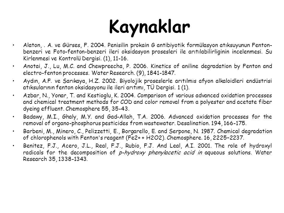 Kaynaklar Alaton,. A. ve Gürses, F. 2004. Penisilin prokain G antibiyotik formülasyon atıksuyunun Fenton- benzeri ve Foto-fenton-benzeri ileri oksidas