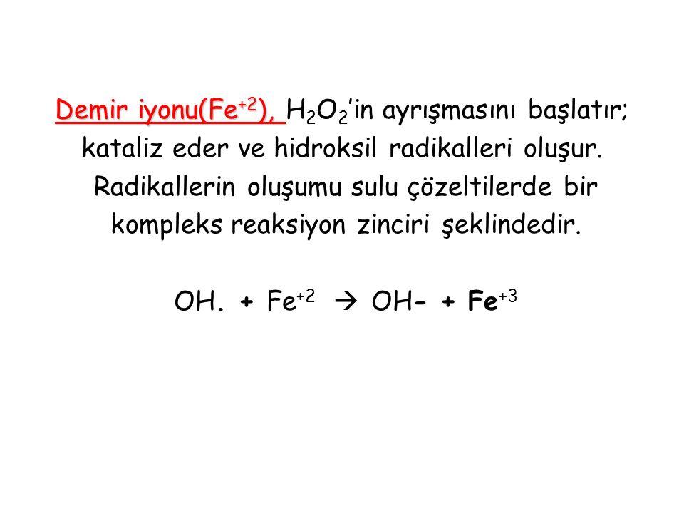 Demir iyonu(Fe +2 ), Demir iyonu(Fe +2 ), H 2 O 2 'in ayrışmasını başlatır; kataliz eder ve hidroksil radikalleri oluşur. Radikallerin oluşumu sulu çö