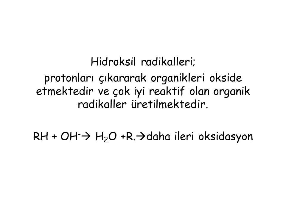 Hidroksil radikalleri; protonları çıkararak organikleri okside etmektedir ve çok iyi reaktif olan organik radikaller üretilmektedir. RH + OH -  H 2 O