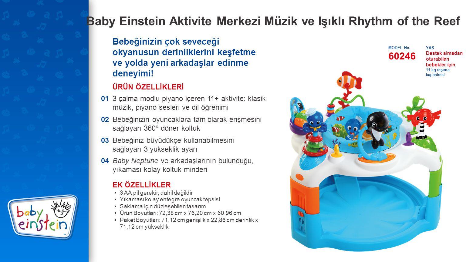 Baby Einstein Aktivite Merkezi Müzik ve Işıklı Rhythm of the Reef Bebeğinizin çok seveceği okyanusun derinliklerini keşfetme ve yolda yeni arkadaşlar