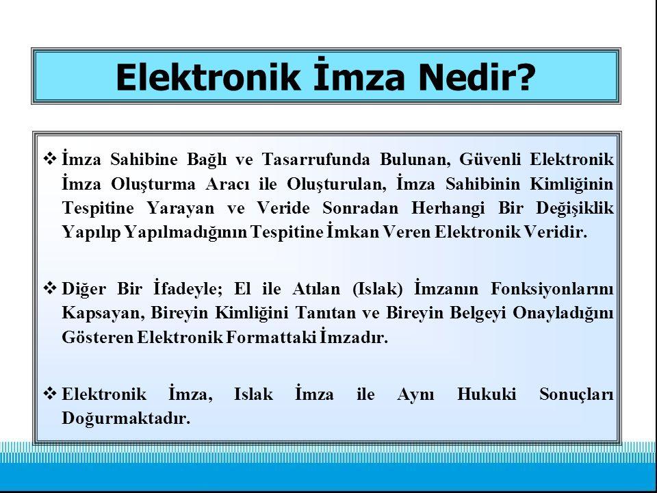 Elektronik İmza Nedir?  İmza Sahibine Bağlı ve Tasarrufunda Bulunan, Güvenli Elektronik İmza Oluşturma Aracı ile Oluşturulan, İmza Sahibinin Kimliğin