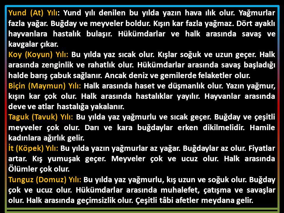 TÜRKLER'İN KULLANDIĞI TAKVİMLER A.