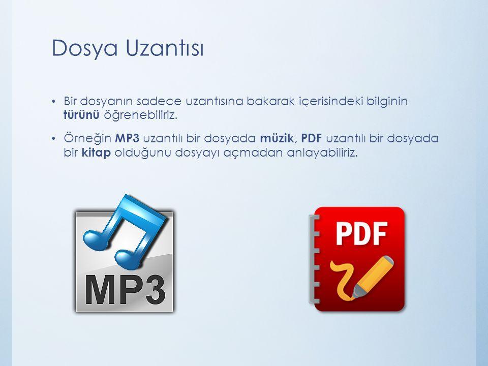 Popüler Dosya Uzantıları Dosya UzantısıTürü.doc Word dosyası (yazı).txt Yazı dosyası.odt Libre Office dosyası.pptx Powerpoint dosyası (sunu).xlsx Excel dosyası (hesap tablosu).rar Winrar dosyası (sıkıştırılmış dosya).pdf E-kitap dosyası.avi /.mp4 /.wmv Film dosyası.gif /.jpg Resim dosyası.bmp Paint dosyası.html Web sayfası.mp3 Ses dosyası