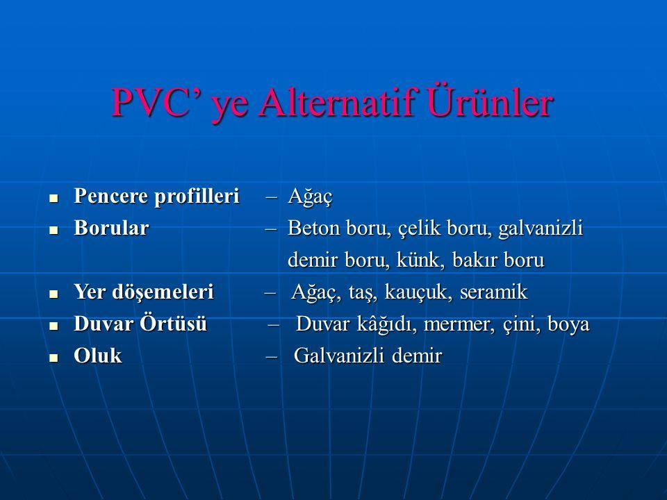 PVC' ye Alternatif Ürünler Pencere profilleri – Ağaç Pencere profilleri – Ağaç Borular – Beton boru, çelik boru, galvanizli Borular – Beton boru, çeli