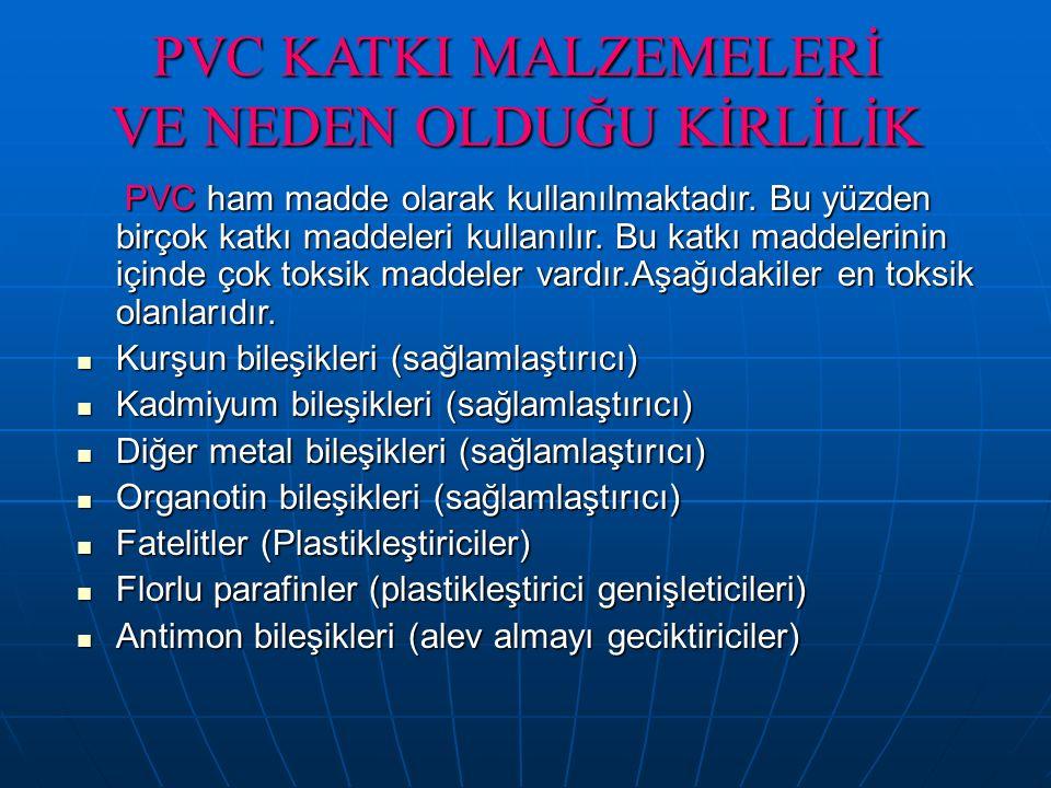PVC KATKI MALZEMELERİ VE NEDEN OLDUĞU KİRLİLİK PVC ham madde olarak kullanılmaktadır. Bu yüzden birçok katkı maddeleri kullanılır. Bu katkı maddelerin