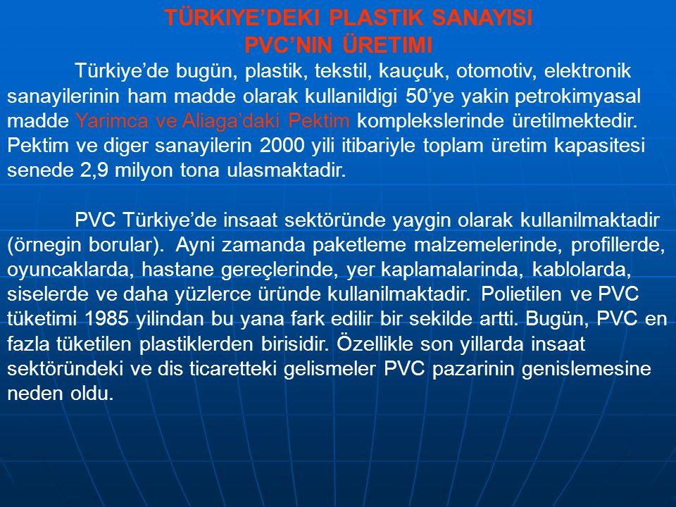 TÜRKIYE'DEKI PLASTIK SANAYISI PVC'NIN ÜRETIMI Türkiye'de bugün, plastik, tekstil, kauçuk, otomotiv, elektronik sanayilerinin ham madde olarak kullanil